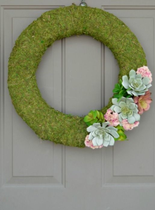 DIY Succulent Moss Spring Wreath - Shared on My Crafty Spot from The Blue Eyed Dove