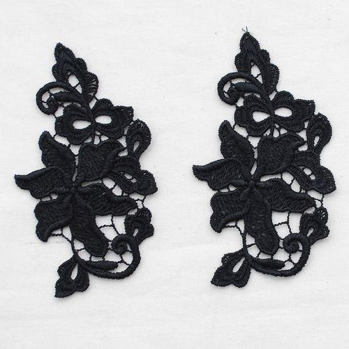 2 Guipure Lace Motif - Floral Flower Leaf - Black - 5.5cm x 10cm