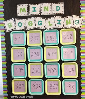 Great activity board! The Teacher Studio: Learning, Thinking, Creating: Mind Boggling Math!