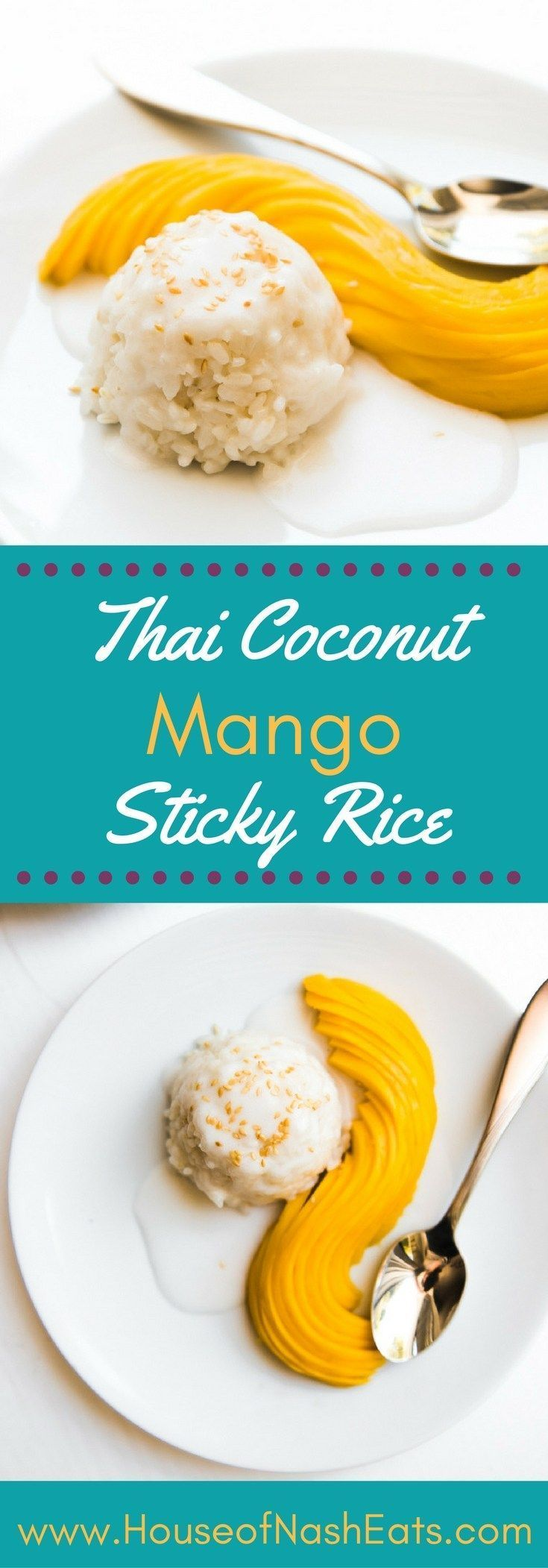 Thai Coconut Mango Sticky Rice is made with sweet, fresh yellow mango, glutinous sticky rice, and an amazing coconut sauce that will transport you right to the tropics! It's a little taste of Thailand that I brought home with me. This fake-out take-out re