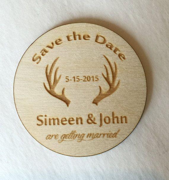 Antler Wedding Save the Dates Rustic Wedding by rusticstudioz