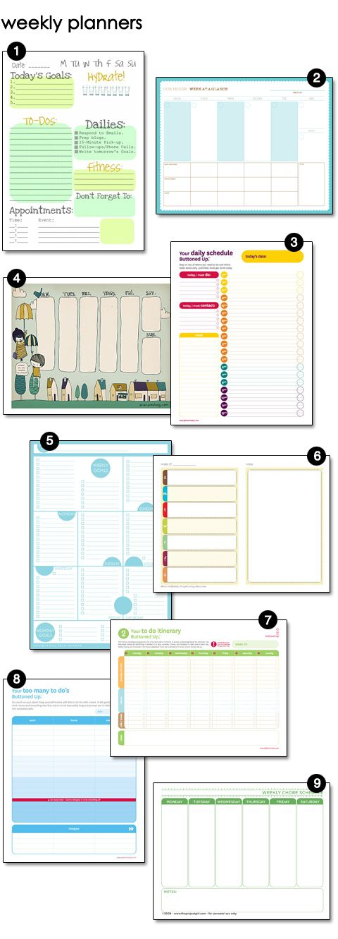 Very Cool! Free printable planners: several choices in several categories, from weekly, menu, cleaning, even blogging!