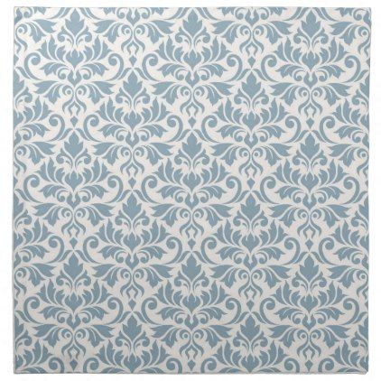 Flourish Damask Pattern Blue on Cream Napkin - pattern sample design template diy cyo customize