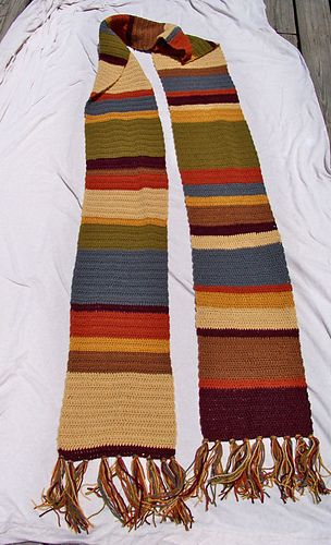 crochet Dr Who scarf. I'm crocheting mine and it's turning into a thirty footer. Time to make smaller stripes :)