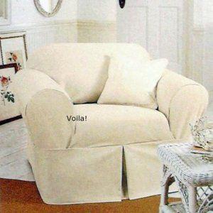 Rachel Ashwell White Denim Chair Slipcover Shabby Chic