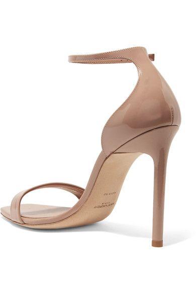 Saint Laurent - Amber Patent-leather Sandals - Neutral - IT