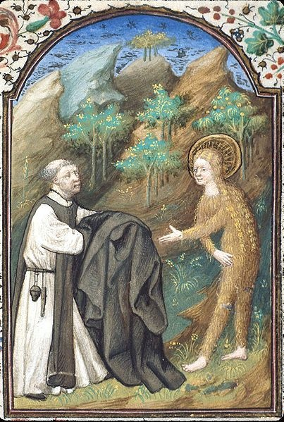 Miniature of St Zosimas, presented as a Benedictine, & St Mary of Egypt, from the British Museum. St Zosimas has just removed his cuculla (the very ample outer garment that monks wear in choir & on other solemn occasions) & is giving it to Mary that she might clothe her nakedness with it. Mary has miraculously grown hair to cover her nakedness, but she accepts the cuculla gratefully all the same [and is thus clothed as a monastic].
