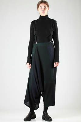 wide, large and asymmetric divided skirt in light pale multicolour wool canvas - Y'S Yohji Yamamoto