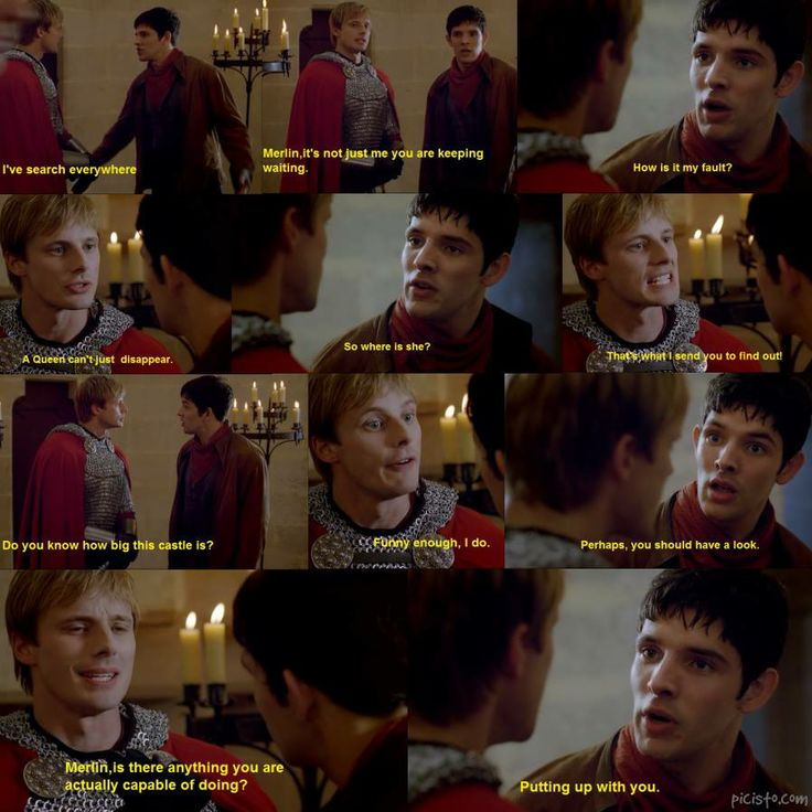 Merlin and Arthur are so funny together , they are like an old  married couple..lol