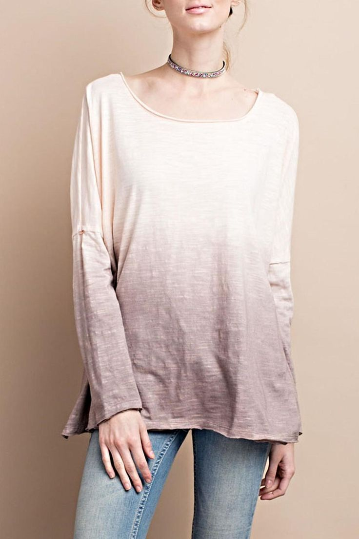 soft and cozy cotton batwing style tiedye top.  Colors are light peach on top with plum on bottom.  Looks great with denim white khaki and more on bottom.  Finish off with a fun pendant necklace.  Great for a Saturday night game or a trip to the mall.   Batwing Tiedye Top by easel. Clothing - Tops Chicago Illinois