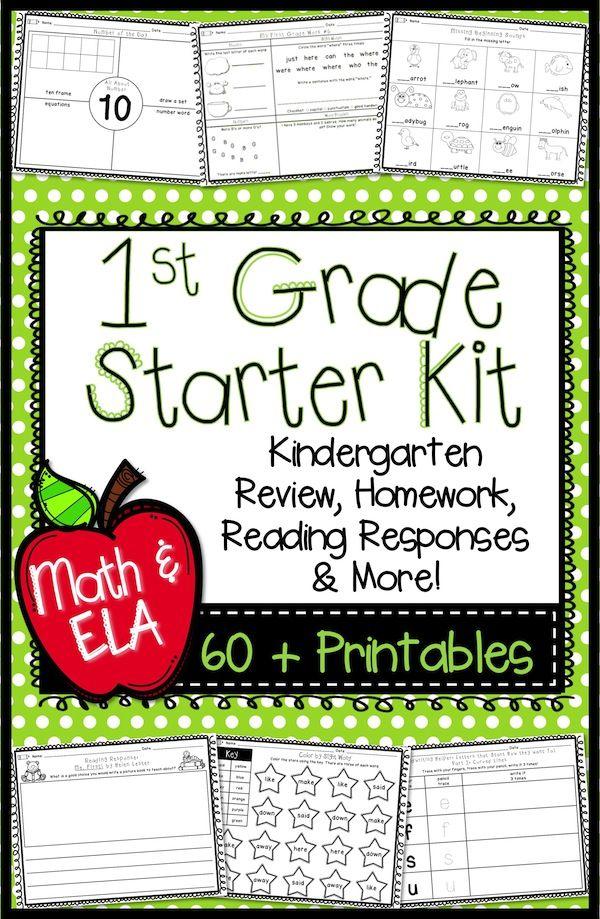 First Grade Back To School Printables Math Ela Math
