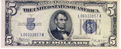 USA Silver Certificate Series 1934 B 5 Dollars uncirculated