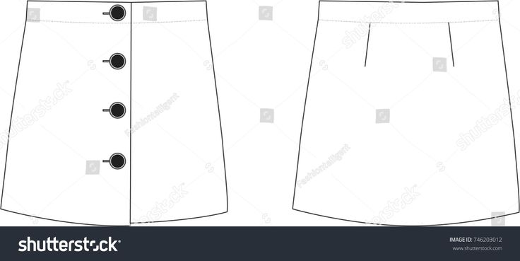 Mini Skirt with Buttons Technical Illustration #fashionflats