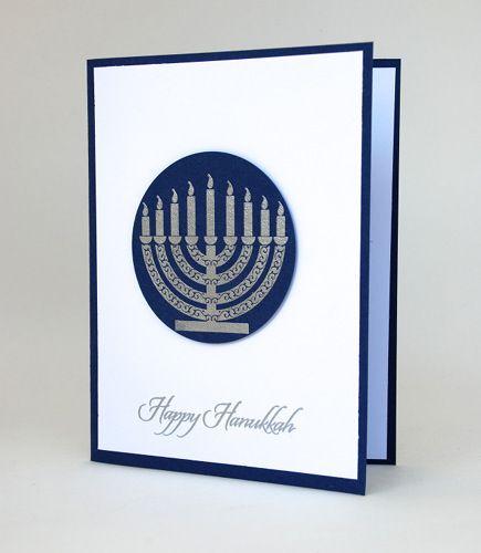 Silver Embossed Menorah Featured On Handmade Hanukkah Greeting Card | cardsbylibe - Cards on ArtFire