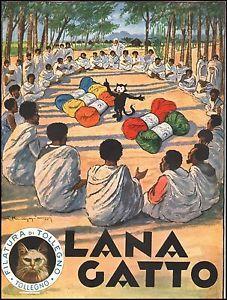 PUBBLICITA-LANA-GATTO-FILATURA-TOLLEGNO-COLONIE-AFRICA-GOMITOLO-MUGGIANI-1936