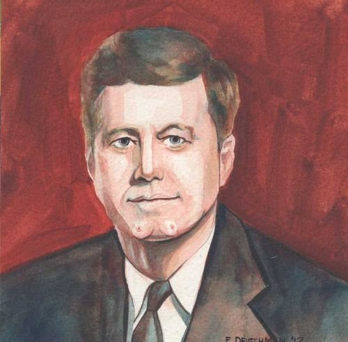 John F. Kennedy with Boobs on his Chin Watercolor on Paper ©E.Deutchman