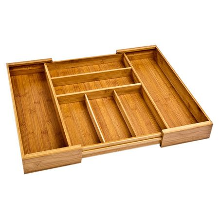 Featuring an expandable design, this bamboo drawer organizer offers convenient storage for your kitchen island or bathroom vanity.  ...