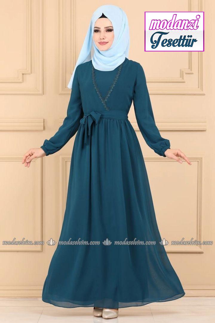 Kruvaze Detayli Tesettur Elbise 5032ef311 Indigo Moda Selvim Elbise 2020 Elbise Moda Stilleri Elbise Modelleri