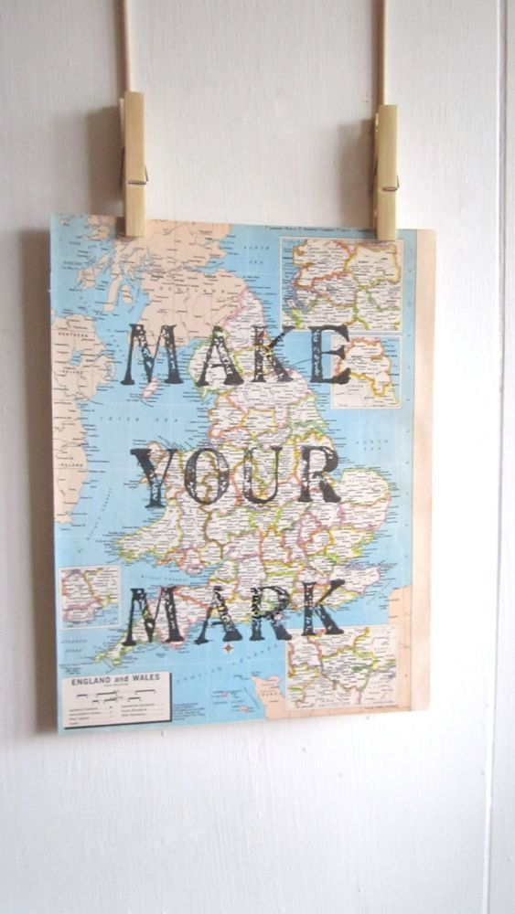 Make Your Mark, Inspiration Map Print, Map of England and Wales, Map Art, Travel Theme, Destination Wedding, Nursery Art, World Nursery on Etsy, £10.09 (guest book sign)
