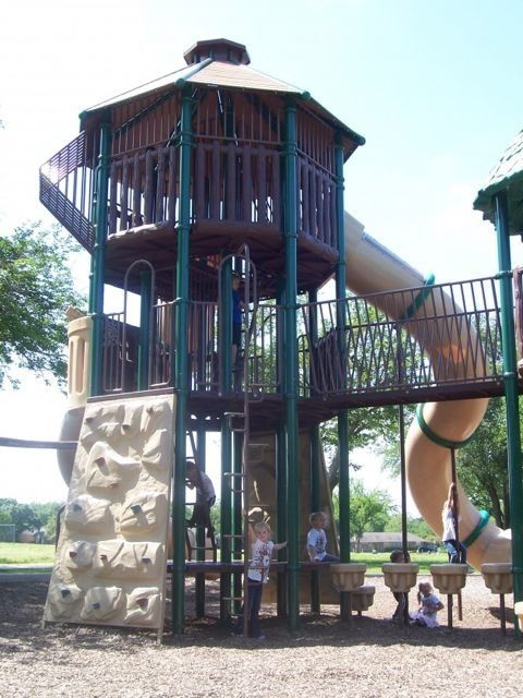 Very tall playground at Heights Park, Richardson, Texas.