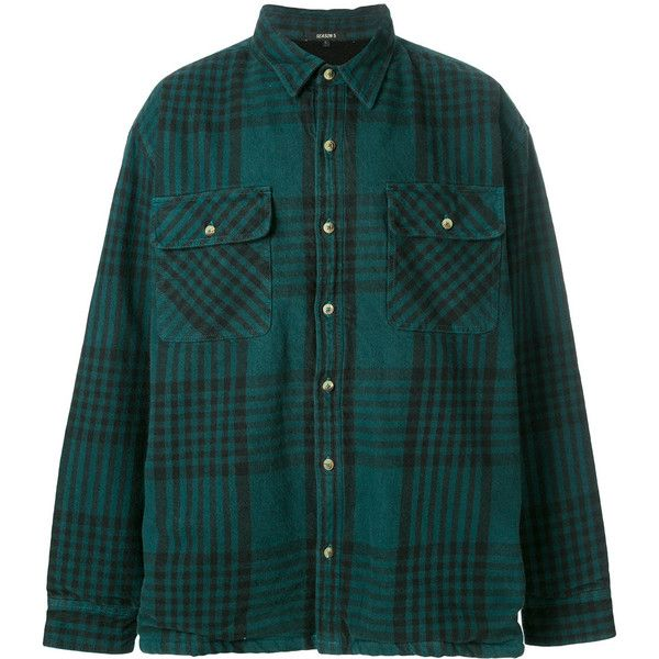 Yeezy Season 5 classic flannel shirt (1.270 BRL) ❤ liked on Polyvore featuring men's fashion, men's clothing, men's shirts, men's casual shirts, green, mens long sleeve flannel shirts, mens long sleeve shirts, mens button front shirts, mens green flannel shirt and mens flannel shirts
