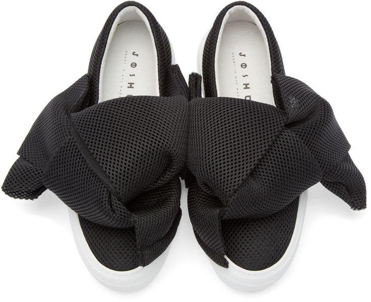 Joshua Sanders Black Mesh Bow Low-Top Sneakers