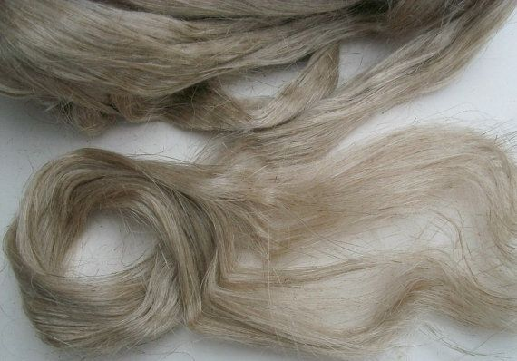 100 wild organic linen/flax fiber  Natural color flax by Lusy, $6.00