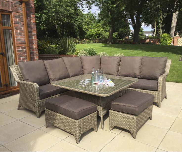Rattan Garden Furniture Sarah Nature Weave Corner Sofa Dining Table 2 Stools Set Corner Sofa Dining Table Rattan Outdoor Furniture Outdoor Furniture Sale