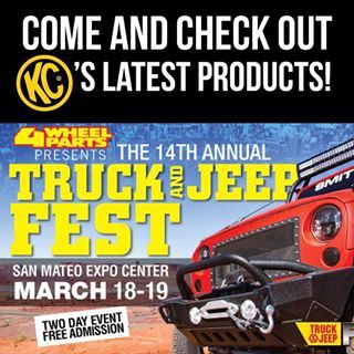 Read the image, make sure to come see us Saturday or Sunday. #kchilites #4wheelparts #truckfest #sanmateo
