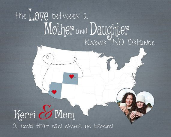 Valentines Day Present for Mom Long Distance by KeepsakeMaps