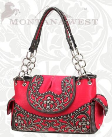 Hot Pink Tooled Western Purse