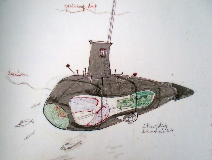 Submarine sketch by Panamarenko