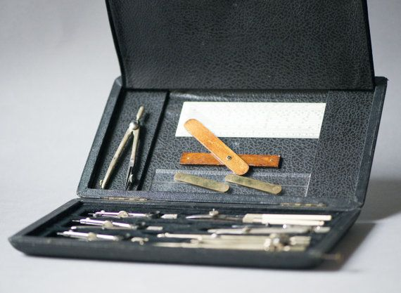 Mid Century Drafting Set Engineering Tools By SovietEra