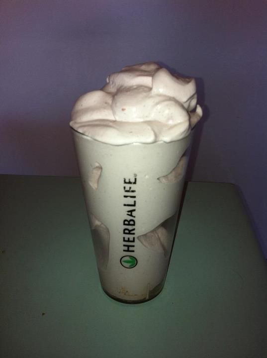 Raspberry whip heaven shake.....OMG!   1/2 cup soy milk, 1/2 cup frozen raspberries, 1 tray of ice, 2 scoops of Vanilla Formula 1, 2 scoops of Protein Powder and 1 good blender :):) Note proof of thickness by holes in the middle of the glass! Simple & yummy by Liz  Infos and Orders at:  https://www.goherbalife.com/wellnessstore/en-US
