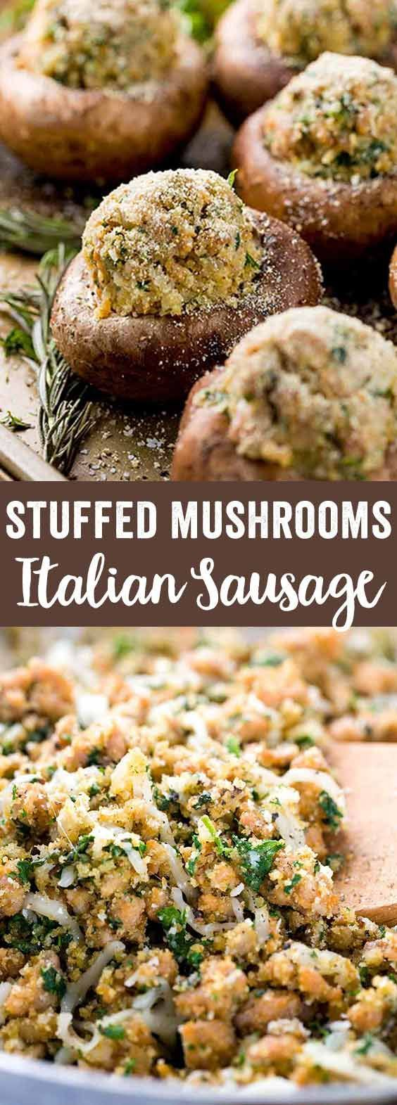 Stuffed mushrooms filled with herbs and Italian sausage make for an easy appetizer! Fresh basil, parsley, breadcrumbs, and cheese fill each cap. via @foodiegavin