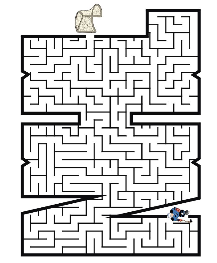 NHL worksheets for kids | Help the hockey player through the NHL shaped maze to get to the ...