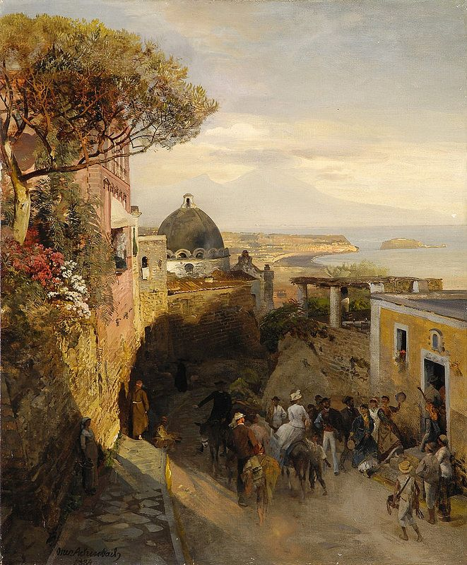 Oswald Achenbach - Street Scence in Naples