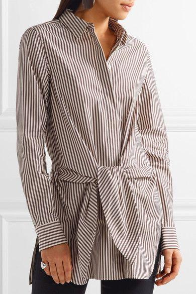 3.1 Phillip Lim - Tie-front Striped Cotton And Silk-blend Oxford Shirt - Dark brown - US10