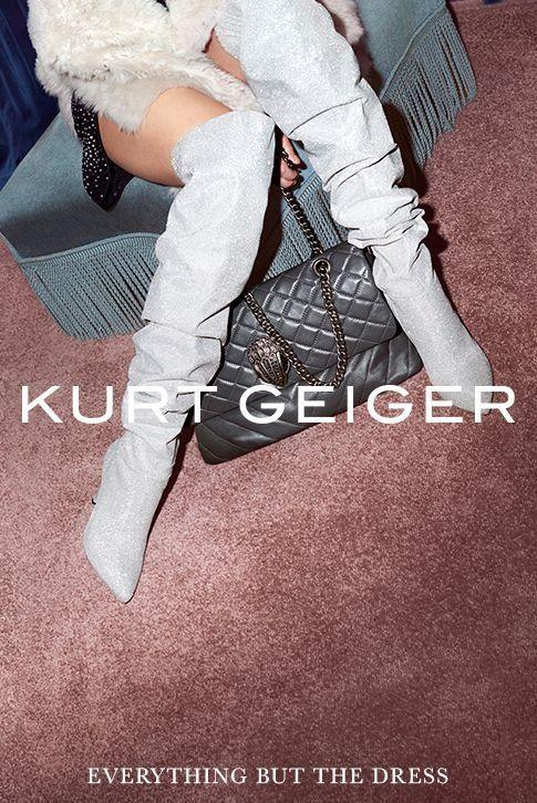 Kurt Geiger AW17. Silver, Over-the-knee boots.