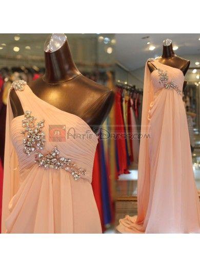 One-shoulder Column Rhinestone Chiffon Long Prom Dress