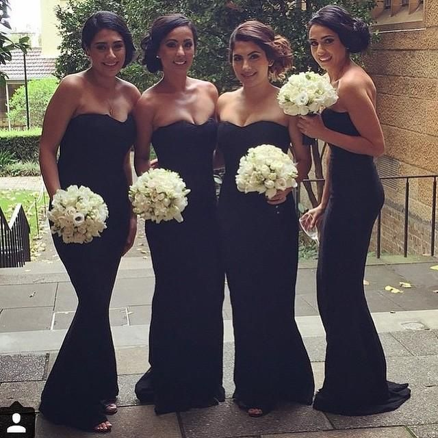 Elegant Strapless Black Evening Gowns Formal Bridesmaid Dresses Mermaid Chiffon Ruched Long Floor Length Maid Of Honor Dresses 2016 Asian Bridesmaid Dresses Beachy Bridesmaid Dresses From Beautydoor, $74.47  Dhgate.Com