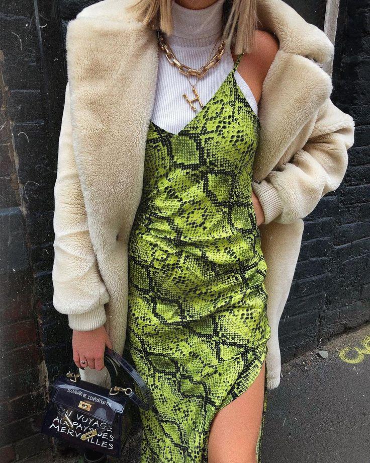 UO Lime Green Snake Print Slip Dress