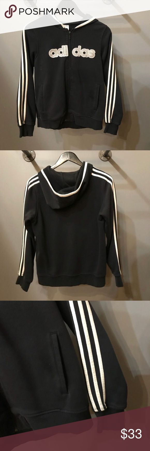 Adidas Black and White Striped Zip Up Hoodie ⚜️I love receiving offers through the offer button!⚜️ Good condition, as seen in pictures! Fast same or next day shipping!📨 Open to offers but I don't negotiate in the comments so please use the offer button😊 Check out the rest of my closet for more Adidas, Lululemon, Tory Burch, Urban Outfitters, Free People, Anthropologie, Victoria's Secret, Sam Edelman, Topshop, Asos, Revolve, Brandy Melville, Zara, and American Apparel! adidas Jackets…