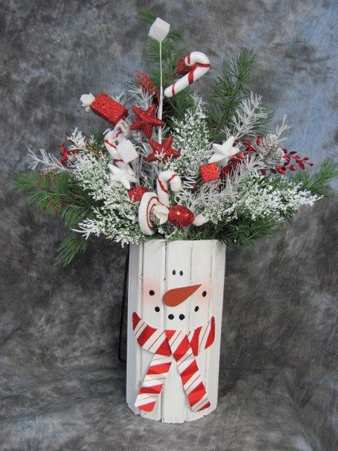 Winter Decor - Snowman Centerpiece - Christmas Decorations -Candy Cane Snowman Floral - Snowman Home Decor - Peppermint Candy - Pine Floral on Etsy, $38.95
