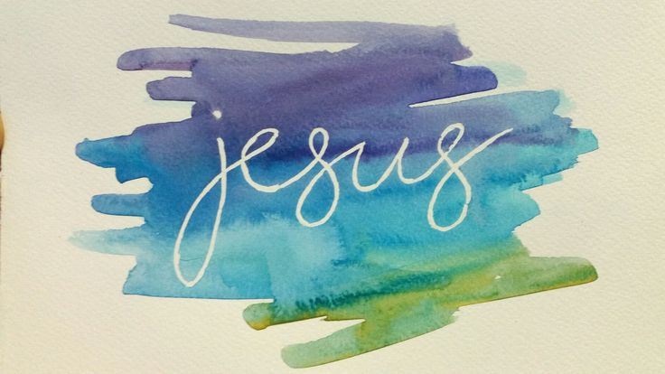 Watercolour word - Jesus. Prepared for a beginner's watercolour class at a craft camp. Masking fluid is used on watercolour paper to mark out the word.  When masking fluid is dry, a quick wash of brightly coloured thinned-out watercolour paint is laid over the top. When the paint is completely dry (hairdryer can be used to dry), the masking fluid can be carefully lifted off with a hard rubber eraser (mine is brown and slightly transparent).