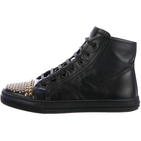 Pre-owned Gucci Studded Cap-Toe Sneakers (2 555 SEK) ❤ liked on Polyvore featuring shoes, sneakers, black, gucci high tops, gucci shoes, black sneakers, black hi top sneakers and black hi tops