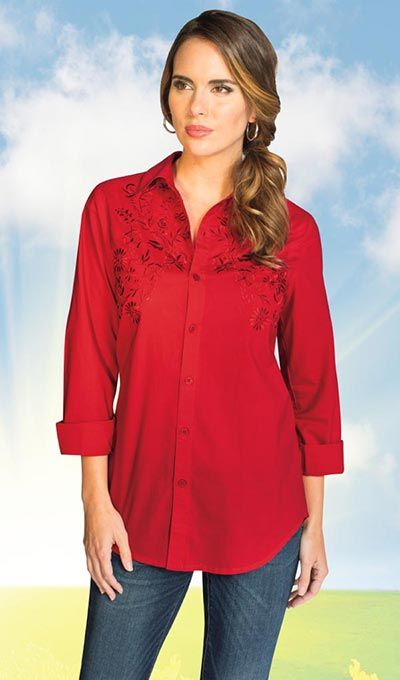 Elegant Embroidered Big Shirt Exclusive! Perfect for a night out (or a day in), our classic big shirt sports details sure to stun.