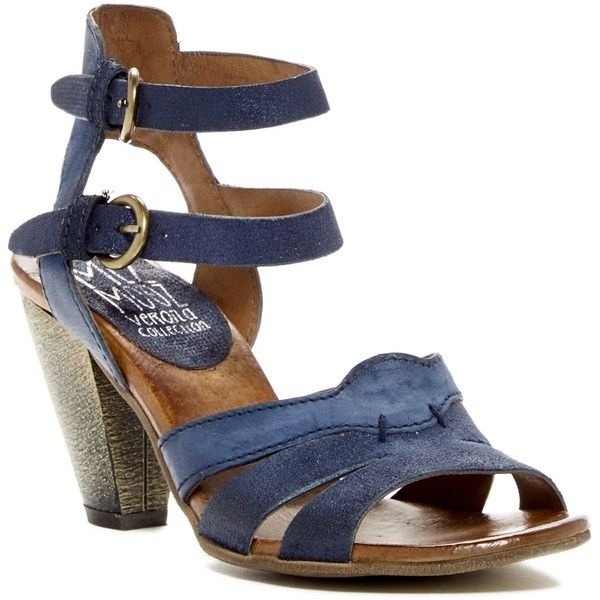Miz Mooz Martine Heeled Sandal ($78) ❤ liked on Polyvore featuring shoes, sandals, navy, miz mooz sandals, ankle wrap sandals, cone heel sandals, strappy heeled sandals and navy strappy sandals