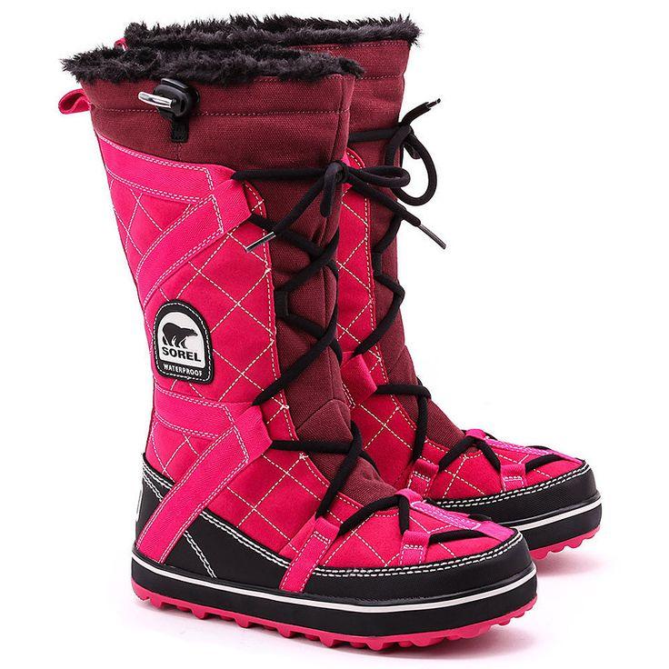 SOREL Glacy Explorer - Różowe Zamszowe Śniegowce Damskie -  Mivo