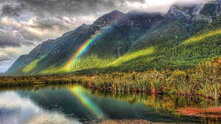 Jezioro, Góry, Tęcza, Trawy